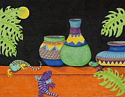 Full Moon Drawings Prints - Moon Over My Geckos Too Print by Judy Cheryl Newcomb