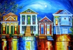 Red Buildings Posters - Moon Over New Orleans Poster by Diane Millsap