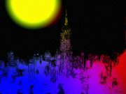 New York Digital Art - Moon over New York by Stefan Kuhn