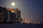 Panama City Beach Posters - Moon Over Panama City Poster by Paul  Wilford