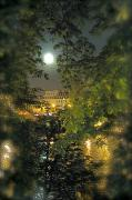Seine Digital Art - Moon over Paris by Louise Fahy