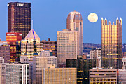 Allegheny County Prints - Moon over Pittsburgh 2 Print by Emmanuel Panagiotakis