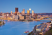 Pittsburgh Prints - Moon over Pittsburgh  Print by Emmanuel Panagiotakis