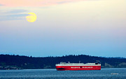 Wallenius Wilhelmsen Prints - Moon Over Puget Sound Print by Tap On Photo