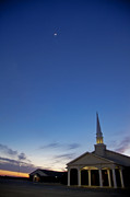 Crescent Moon Framed Prints - Moon over steeple at New Hope Baptist Church West Duncan Oklahoma Framed Print by Toni Hopper