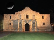The Alamo Framed Prints - Moon over the Alamo Framed Print by Carol Groenen