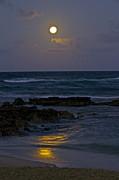 Moon Over The Beach 2 Print by Eddie Freeman