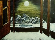 Snowy Night Metal Prints - Moon Over The Mountains Metal Print by Gordon Wendling