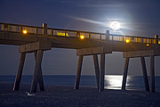 Pensacola Prints - Moon over the Pier 2 Print by Richard Roselli