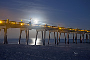 Pensacola Prints - Moon over the Pier Print by Richard Roselli