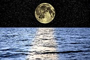 Sea Moon Full Moon Photo Prints - Moon Over The Sea, Composite Image Print by Victor De Schwanberg