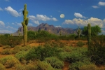 The Superstitions Posters - Moon over the Superstition Mtn Poster by Brian Lambert