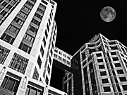 Sam Sheats Photo Framed Prints - Moon Over Twin Towers 2 Framed Print by Samuel Sheats