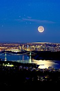 Lions Gate Bridge Posters - Moon Over Vancouver, Time-exposure Image Poster by David Nunuk