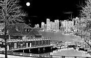 Stanley Park Digital Art Framed Prints - Moon Over Vancouver Framed Print by Will Borden