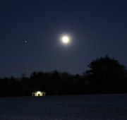 Moonlit Night Photos - Moon Over Waveny by Christine Segalas