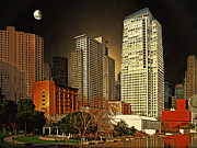 Highrise Mixed Media Prints - Moon Over Yerba Buena Gardens San Francisco Print by Wingsdomain Art and Photography