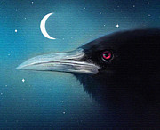 Crescent Moon Digital Art Prints - Moon Raven Print by Robert Foster
