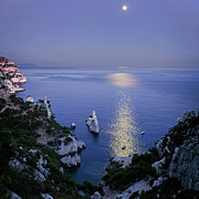 Marseille Prints - Moon Reflected In Sea Print by Thomas David Photography