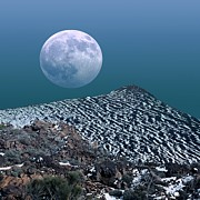 Snow-covered Landscape Photo Prints - Moon-rise Over A Volcano Print by Detlev Van Ravenswaay