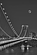 Full Moon Photos - Moon Rise over the George Washington Bridge BW by Susan Candelario
