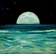 Sea Moon Full Moon Painting Metal Prints - Moon rising Metal Print by Caroline Peacock