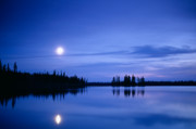 Moon Rise Framed Prints - Moon rising over Summit Lake Framed Print by David Nunuk