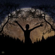Silhouette Digital Art - Moon Rising by Peter Piatt