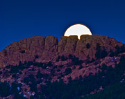 Moon Setting Behind Horsetooth Rock Print by Harry Strharsky