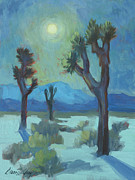 Moonlit Night Prints - Moon Shadows at Joshua Print by Diane McClary