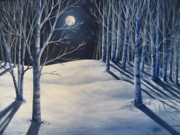 Snowy Night Painting Posters - Moon Shadows Poster by Sharon Marcella Marston