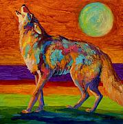 Wild Animals Painting Posters - Moon Talk - Coyote Poster by Marion Rose