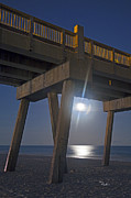 Pensacola Fishing Pier Framed Prints - Moon under the Pier 2 Framed Print by Richard Roselli
