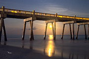 Pensacola Prints - Moon under the Pier Print by Richard Roselli