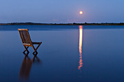 Relaxed Metal Prints - Moon View Metal Print by Gert Lavsen