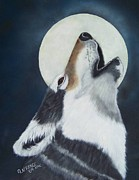 Wolf Howling Paintings - Moon Wolf by Debbie LaFrance