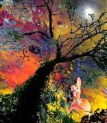 Art Miki Digital Art Prints - Moonbathing Print by Miki De Goodaboom