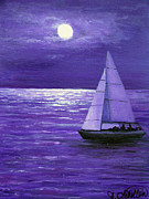 Night Out Painting Originals - Moonbeam Ripples Across the Tide by Amy Scholten