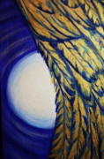 Angel Blues  Prints - Moonbeams And Angle Wing Print by Nedra Russ