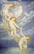  Drapery Paintings - Moonbeams Dipping into the Sea by Evelyn De Morgan