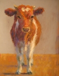 Cow Pastels Posters - Mooney Poster by Susan Williamson