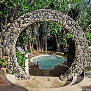 Stone Entrance Framed Prints - Moongate - Bermuda Framed Print by DJ Florek