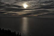 Moonglow Posters - Moonglow over Lake Michigan Poster by Purcell Pictures