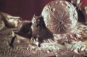 Owl Sculpture Metal Prints - Moonhorse Detail Owl and Moon Metal Print by Dawn Senior-Trask