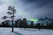 Nordic Countries Prints - Moonlight And Aurora Borealis Print by Arild Heitmann