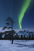 Green Energy Framed Prints - Moonlight And Aurora Over Nova Mountain Framed Print by Arild Heitmann