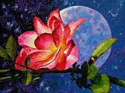 Moonlight Prints - Moonlight and Roses Print by John Lautermilch