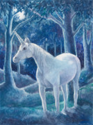 Enchanted Forest Paintings - Moonlight by Ann Gates Fiser