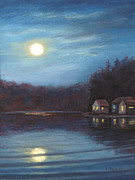 Light Blue Pastels Posters - Moonlight at Beaver Lake Poster by Elaine Farmer