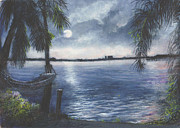 Miniatures Art - Moonlight at Madeira Beach by Joan Cornish Willies